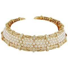 Bulgari Diamond and Pearl Choker Necklace