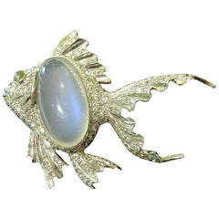 Platinum Fish Pin Accented with Diamonds Moonstone and Chrysoberyl Cats Eye Pin