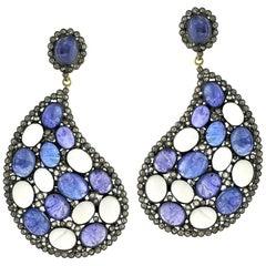 Paisley Shaped Tanzanite, Moonstone and Diamond Earring