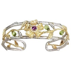 "18 Karat Gold Flower and Vine on Silver ""Bark"" Cuff with Diamonds, Tourmaline"