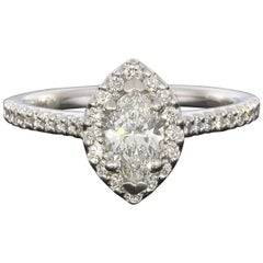 1.54 Carat Marquise Diamond Halo 14 Karat White Gold Engagement Ring