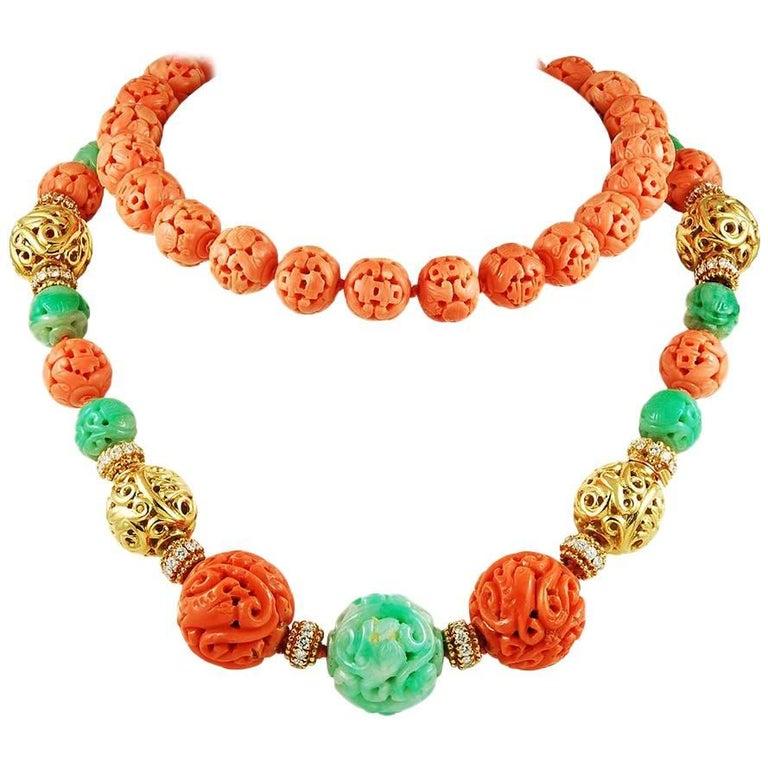 Van Cleef & Arpels Diamond, Carved Coral, Jade Bead Necklace