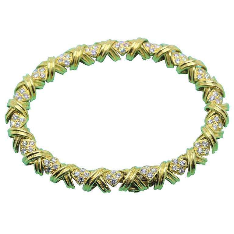 Tiffany & Co. Signature X Diamonds and 18 Karat Yellow Gold Bracelet 2.00 Carat