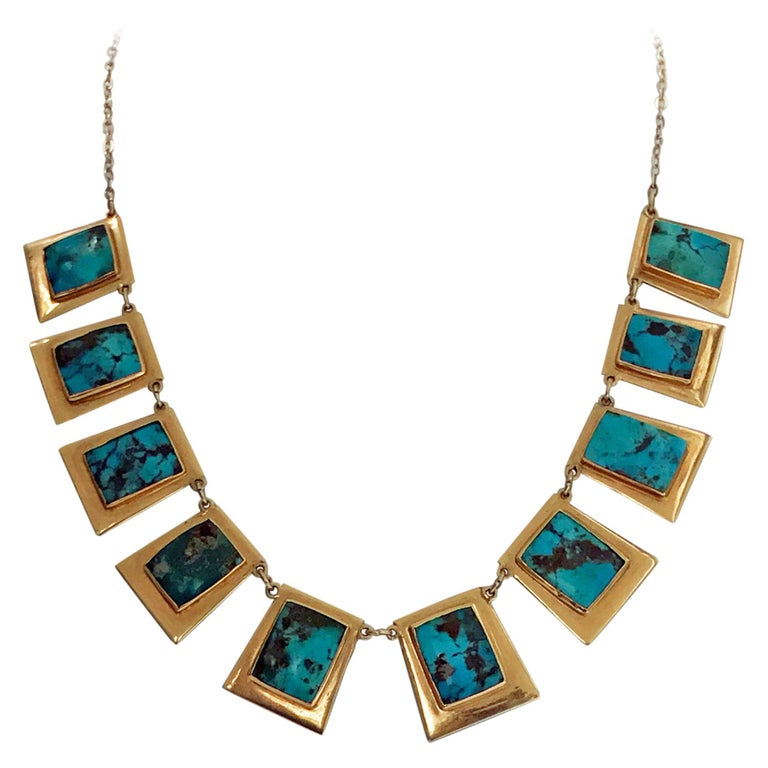 1960s Turquoise Gold Necklace