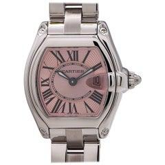 Cartier Ladies Stainless Steel Roadster Breast Cancer Ltd Ed quartz wristwatch