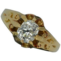 Victorian 1.02 Carat Old Cut Diamond 18 Carat Gold Solitaire Engagement Ring