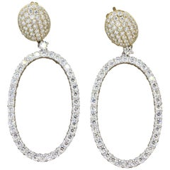 Modern Diamond Hoop Gold Drop Earrings