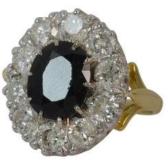 Natural Sapphire and 2.30 Carat Diamond 18 Carat Gold Cluster Ring, circa 1980