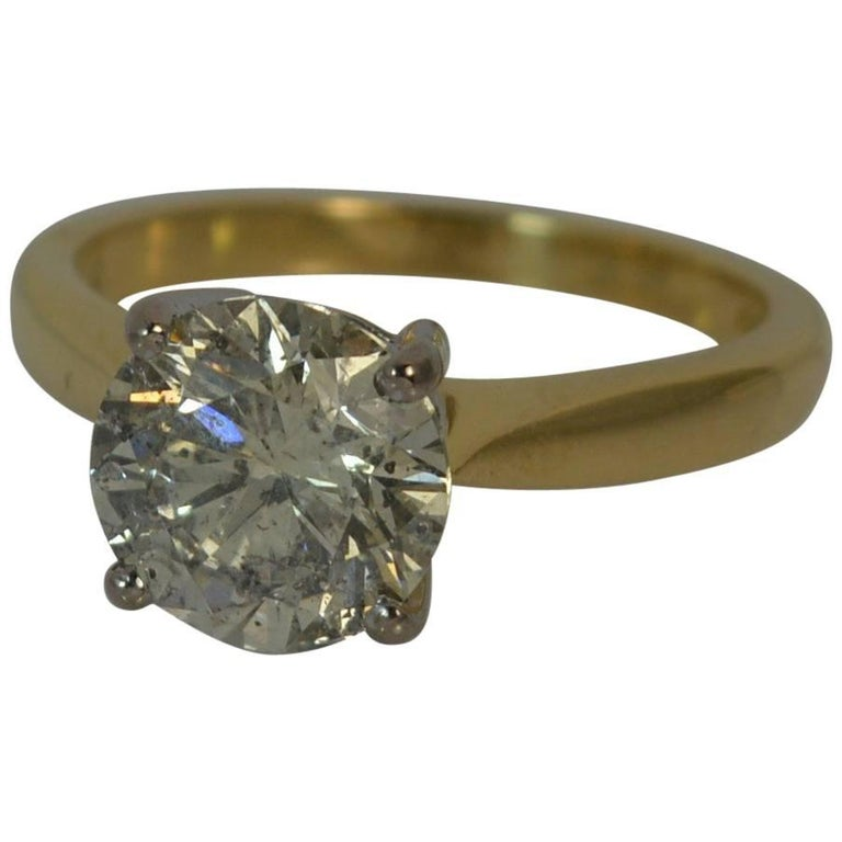 Natural 2.54 Carat Diamond and 18 Carat Gold Solitaire Engagement Ring