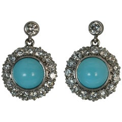 Mappin & Webb 18 Carat Gold Turquoise VS 1.60 Carat Diamond Earrings in Box