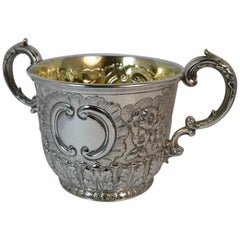 Heavy 1855 Victorian Solid Silver Two Handled Porringer Bowl