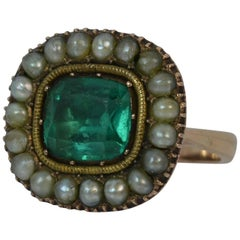 Georgian Paste and Pearl 9 Carat Gold Cluster Statement Ring