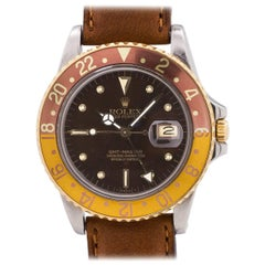 Rolex Yellow Gold Stainless Steel Rootbeer GMT Self Winding Wristwatch, c 1980