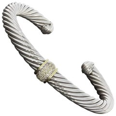 David Yurman Diamond Cable Cuff Bracelet