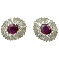 Thai Ruby and Diamond Earrings