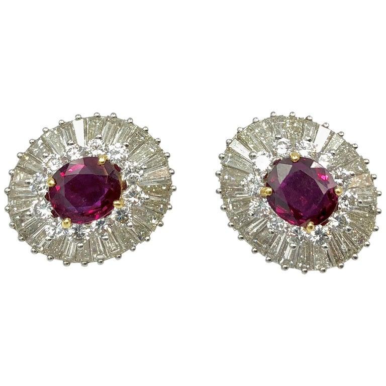 Thai Ruby and Diamond Earrings