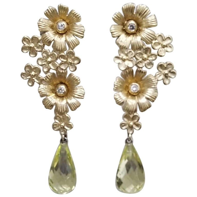 14k Yellow Gold Flower and Diamond Earrings with Citrine Briolette Cut Drops