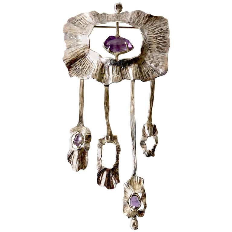 Mona Trunkfield Sterling Silver Amethyst Handcrafted Modernist Brooch For Sale