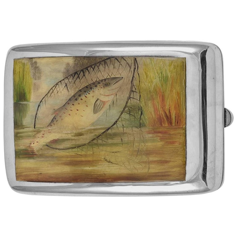 Antique Sterling and Enamel Fish Case