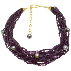 Decadent Jewels Garnet Tahitian Pearl Gold Torsade Necklace