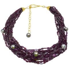 Decadent Jewels Garnet Tahitian Pearl Gold Torsade Necklace