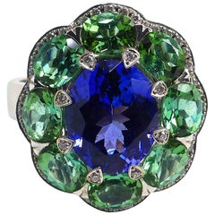 Fine Tanzanite Tourmalines Diamonds 18K White Gold Ring