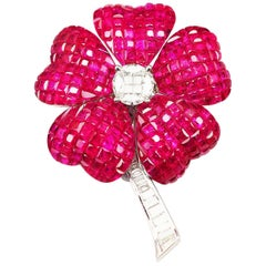 Ruby Flower Brooch