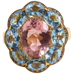 Fine Pink Tourmaline, Aquamarine and Diamond 18 Karat Rose Gold Ring