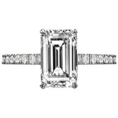 GIA Certified 2.55 Carat Emerald Cut Diamond Engagement Ring