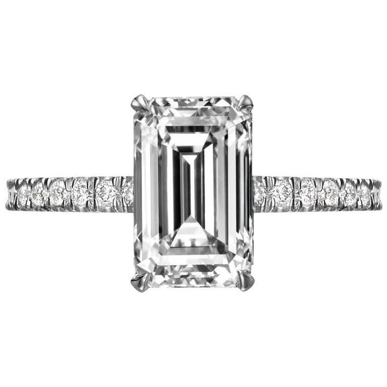 GIA Certified 2.55 Carat Emerald Cut Diamond Engagement Ring