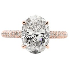 GIA Certified 3.71 Carat Oval Cut Diamond Engagement Ring in Rose Gold