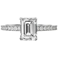 GIA Certified 2.05 Carat Emerald Cut Diamond Engagement Ring