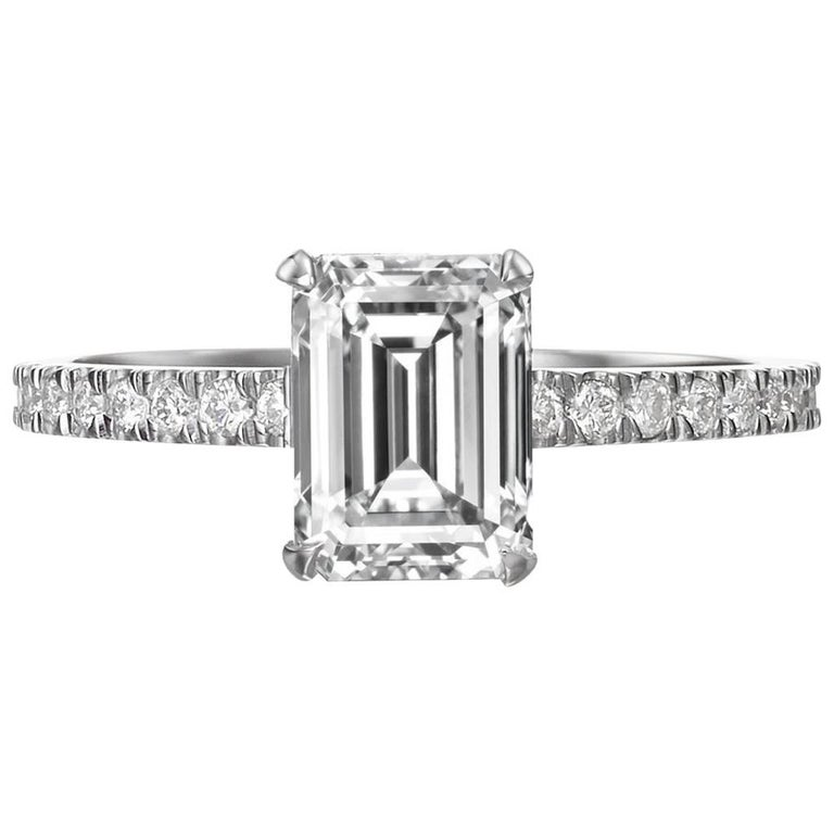 GIA Certified 2.05 Carat Emerald Cut Diamond Engagement Ring