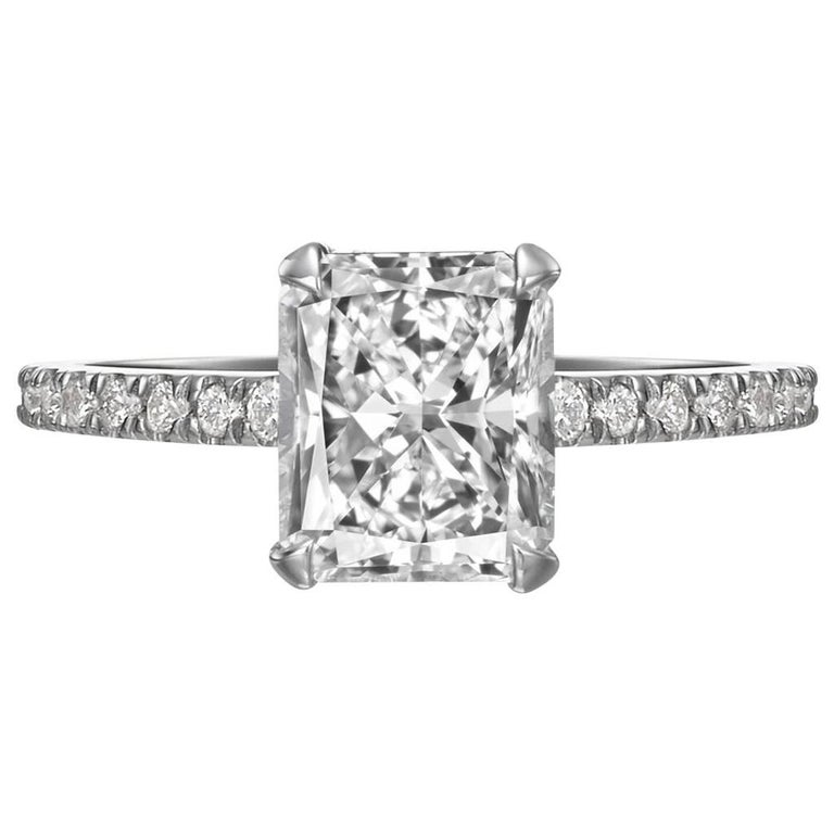 GIA Certified 2.05 Carat Radiant Cut Diamond Engagement Ring