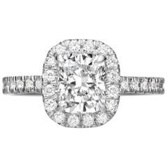 GIA Certified 2.25 Carat Cushion Cut Diamond Halo Engagement Ring