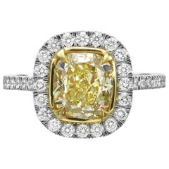 GIA Certified 2.71 Carat Fancy Yellow Cushion Cut Diamond Halo Engagement Ring