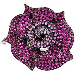 Ruby and Pink Sapphire Rose Ring, 18 Karat White Gold and Black Rhodium