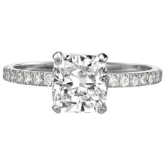 GIA Certified 2.00 Carat Cushion Cut Diamond Engagement Ring