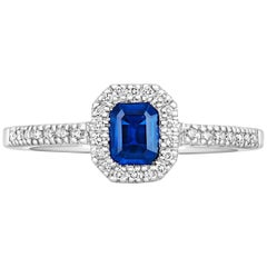 Tivon 18ct White Gold Pave set white Diamond and Emerald cut Blue Sapphire Ring