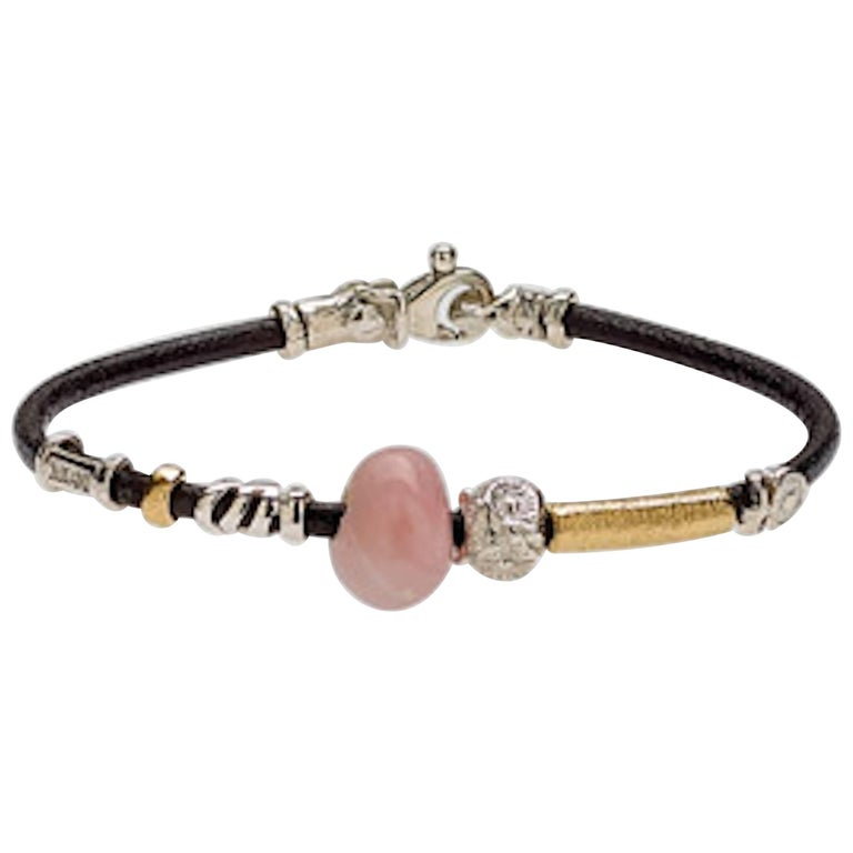 Leather Bracelet with Gold and Silver Elements and Semi Precious Stones