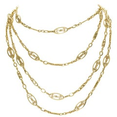 18 Karat Yellow Gold French Antique Guard Chain