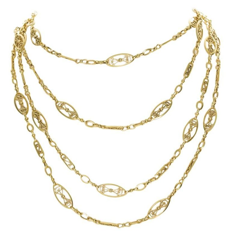 18 Karat Yellow Gold French Antique Guard Chain