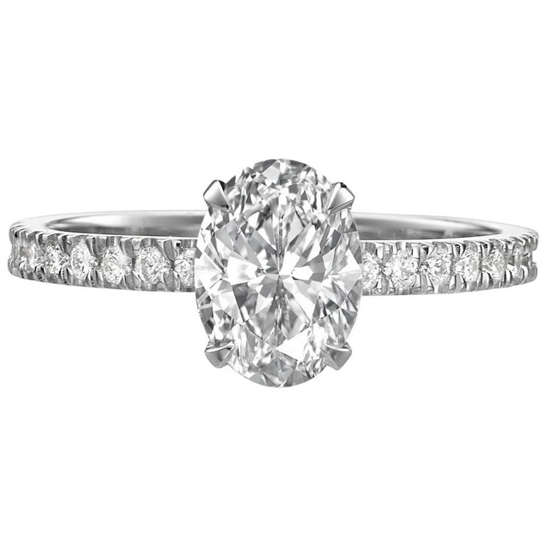 GIA Certified 1.51 Carat Oval Cut Diamond Engagement Ring