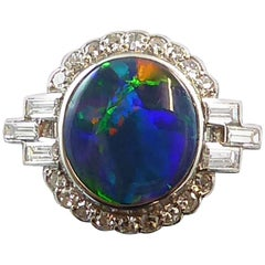Art Deco 2.03 Carat Black Opal and Diamond Ring, Platinum, circa 1930s