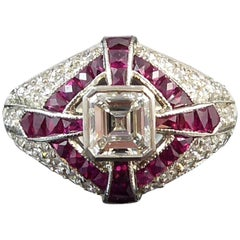 Modern Art Deco Style Diamond and Ruby Cocktail Ring, circa 1930s