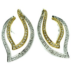 Gold and Diamonds Ribbon Style Earrings