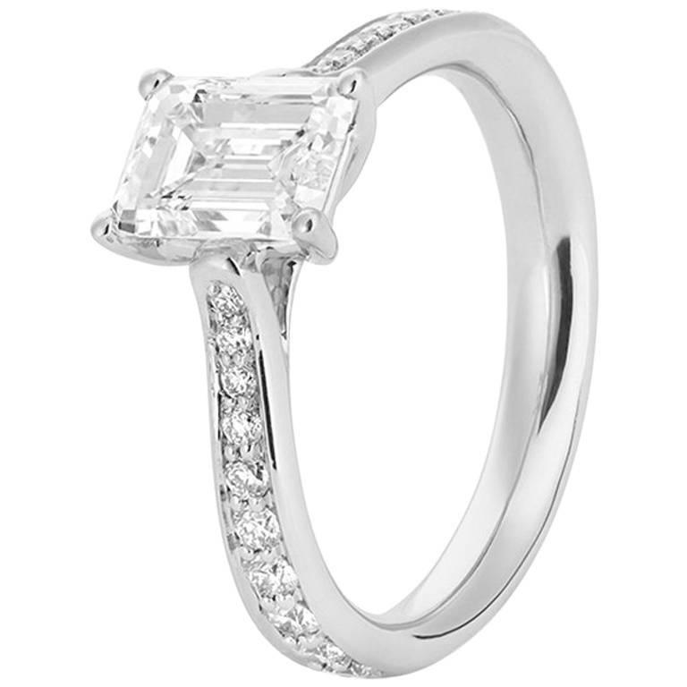 GIA Certified 2.05 Carat White Diamonds and Platinum Engagement Ring