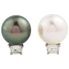 Cartier Pearl and Diamond Earrings in Platinum