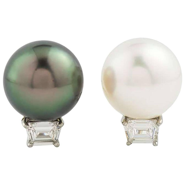 Cartier Pearl And Diamond Earrings In Platinum For