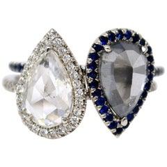GIA Certified Fancy Dark Gray Diamond and White Rose Cut Diamond Twin Ring